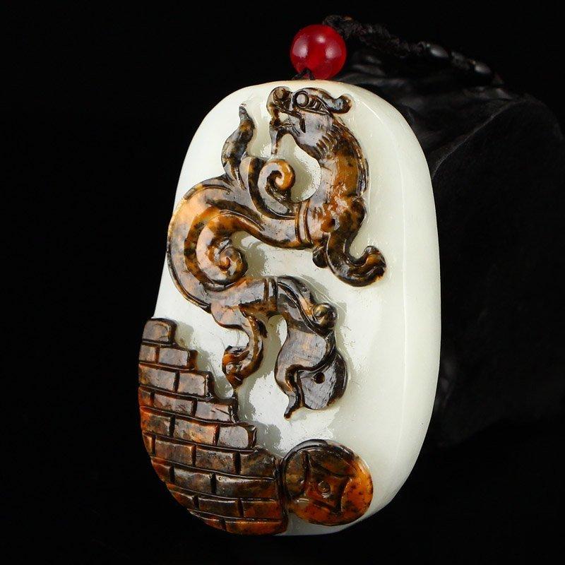Superb Chinese Hetian Jade Pendant - Fortune Dragon - 3