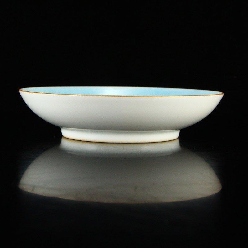 Gilt Edge Famille Rose Porcelain Plate - Goldfish - 4