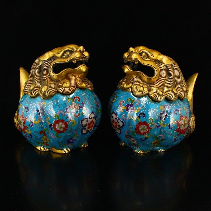 A Pair Gilt Gold Bronze Cloisonne Lions Incense Burner - 2