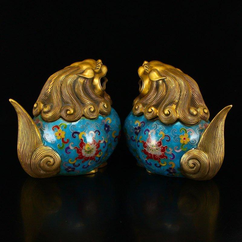 A Pair Gilt Gold Bronze Cloisonne Lions Incense Burner - 3