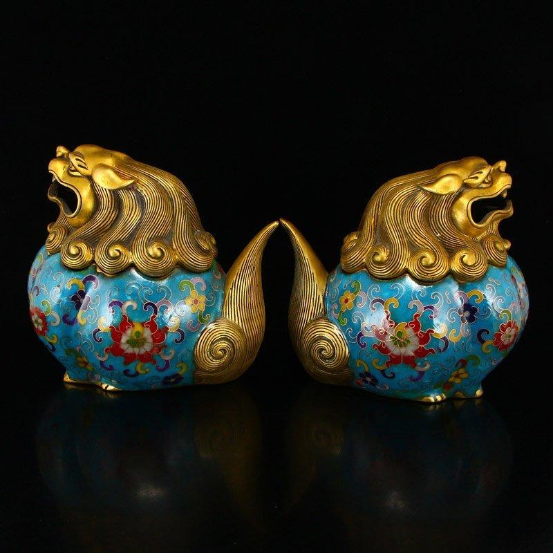 A Pair Gilt Gold Bronze Cloisonne Lions Incense Burner - 4