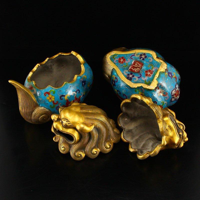 A Pair Gilt Gold Bronze Cloisonne Lions Incense Burner - 5