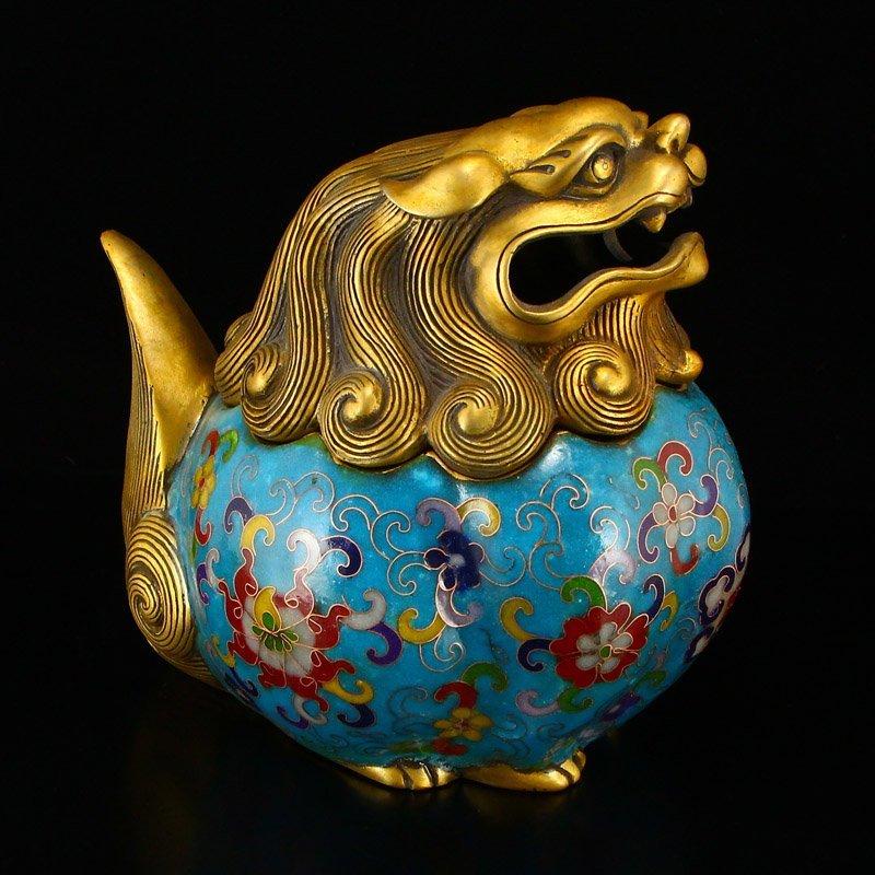 A Pair Gilt Gold Bronze Cloisonne Lions Incense Burner - 6