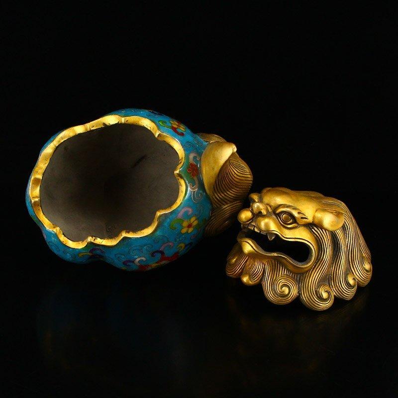 A Pair Gilt Gold Bronze Cloisonne Lions Incense Burner - 8