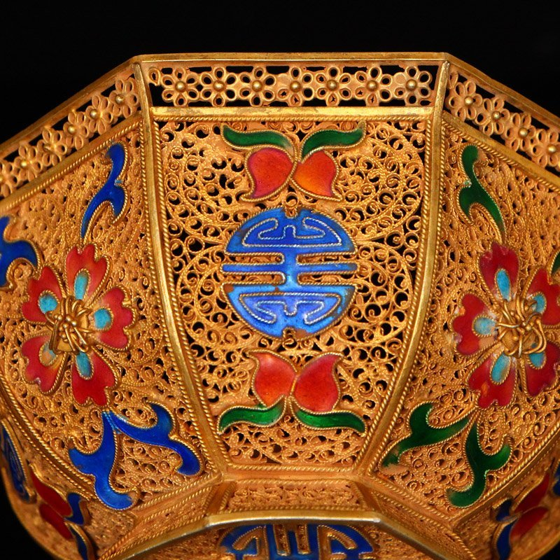 Exquisite Chinese Tang Dynasty Gold Wire Enamel Bowl - 10