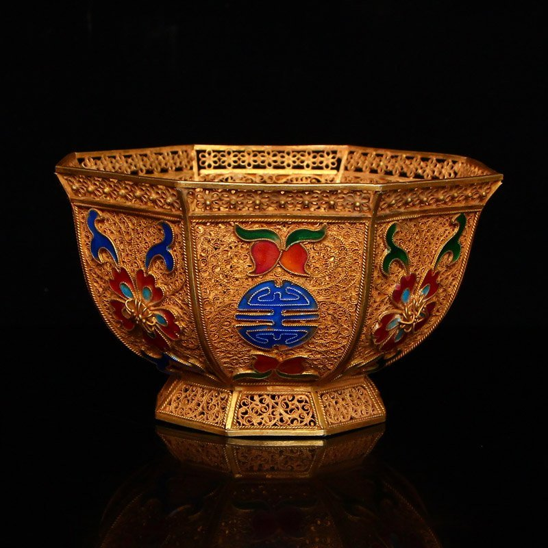 Exquisite Chinese Tang Dynasty Gold Wire Enamel Bowl