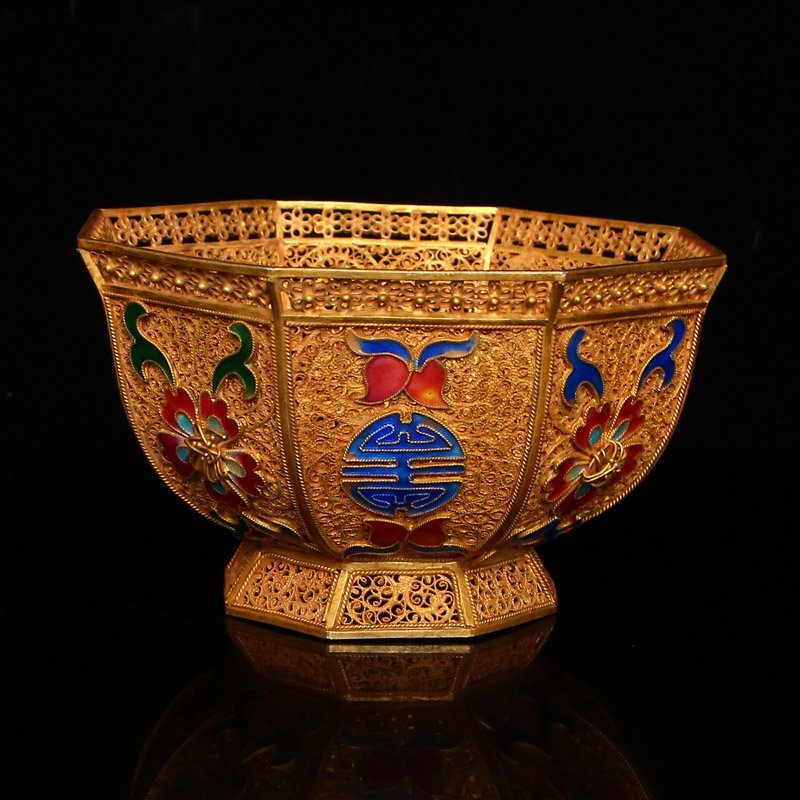 Exquisite Chinese Tang Dynasty Gold Wire Enamel Bowl - 2