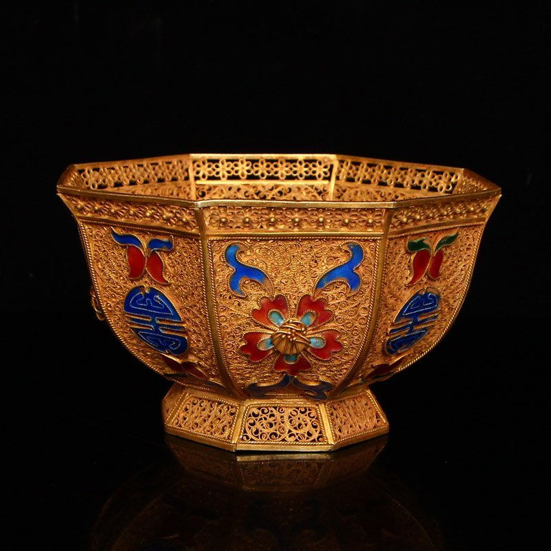 Exquisite Chinese Tang Dynasty Gold Wire Enamel Bowl - 3