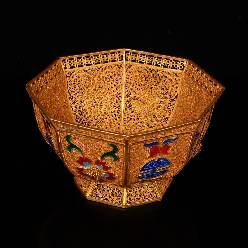 Exquisite Chinese Tang Dynasty Gold Wire Enamel Bowl - 4