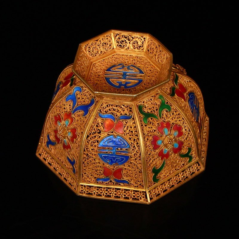 Exquisite Chinese Tang Dynasty Gold Wire Enamel Bowl - 5