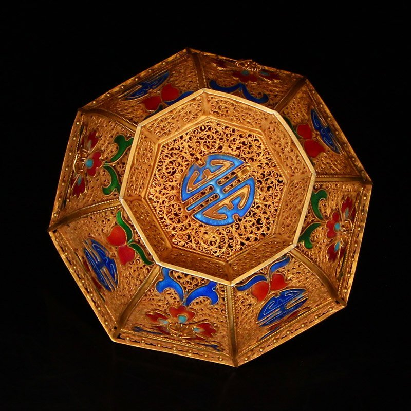 Exquisite Chinese Tang Dynasty Gold Wire Enamel Bowl - 6