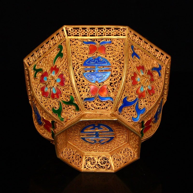 Exquisite Chinese Tang Dynasty Gold Wire Enamel Bowl - 7