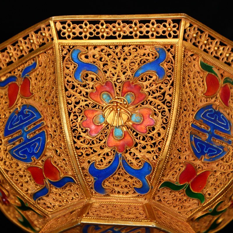 Exquisite Chinese Tang Dynasty Gold Wire Enamel Bowl - 9