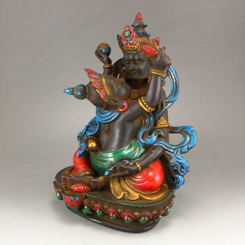 Gilt Gold Coloured Peking Glass Mandkesvara Statue - 2