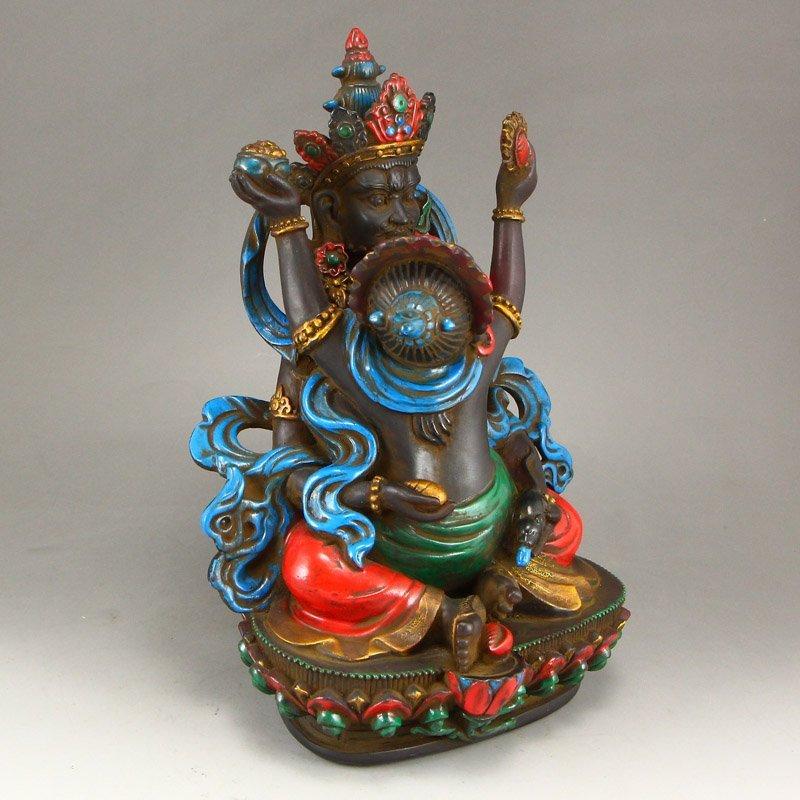 Gilt Gold Coloured Peking Glass Mandkesvara Statue - 3