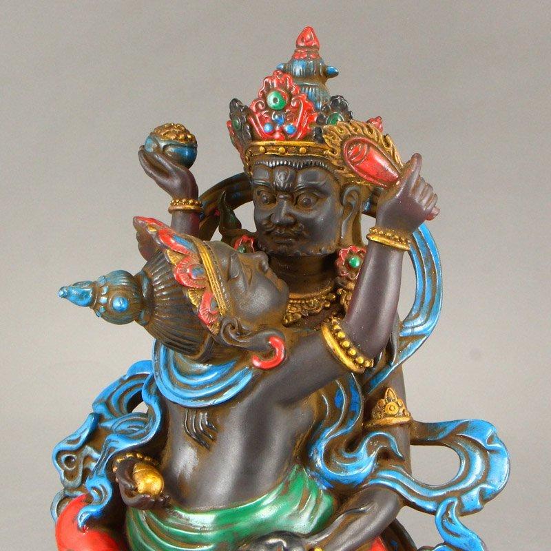 Gilt Gold Coloured Peking Glass Mandkesvara Statue - 7