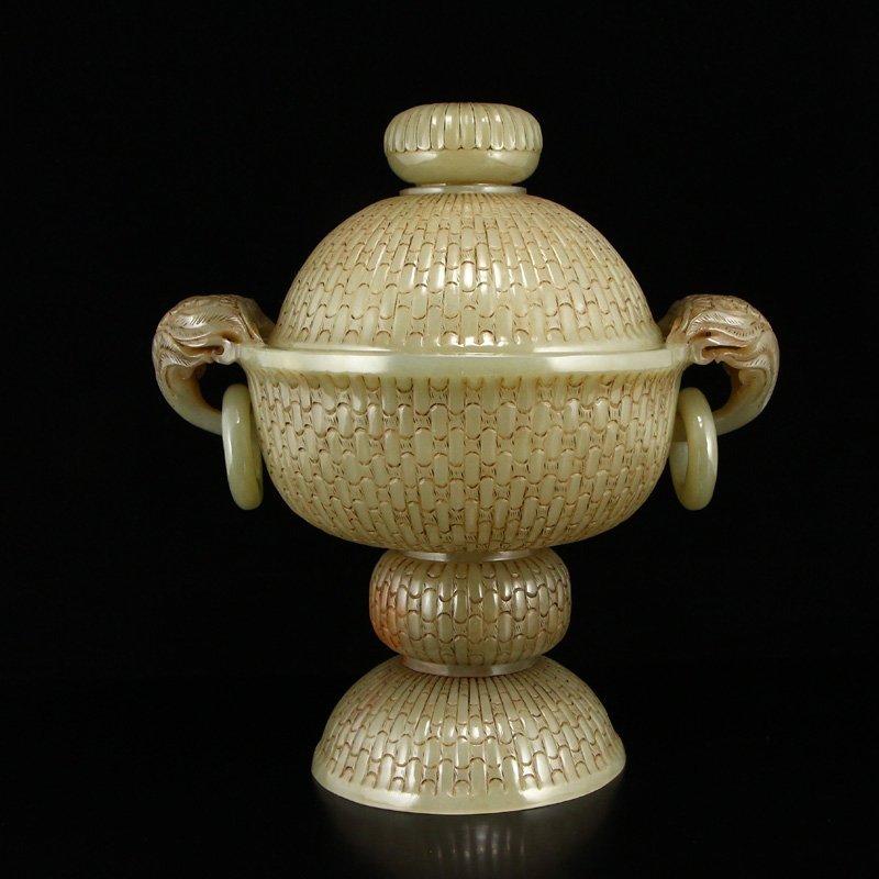 Superb Chinese Hetian Jade Double Rings Incense Burner