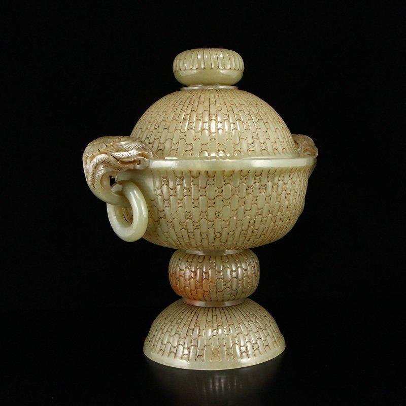 Superb Chinese Hetian Jade Double Rings Incense Burner - 2