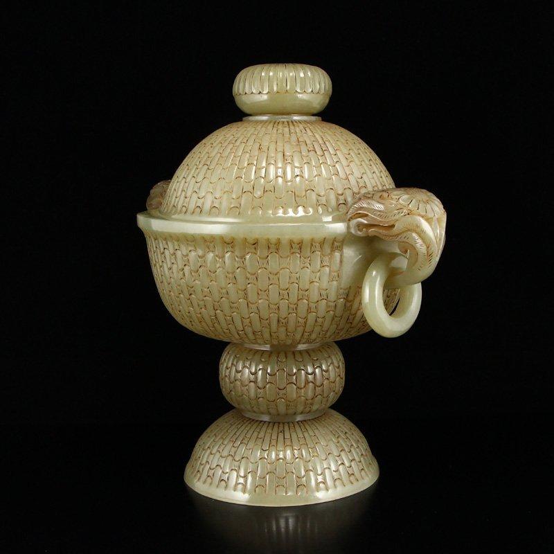 Superb Chinese Hetian Jade Double Rings Incense Burner - 3
