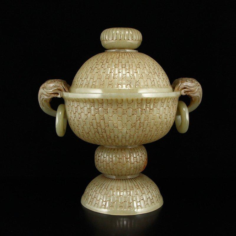 Superb Chinese Hetian Jade Double Rings Incense Burner - 4