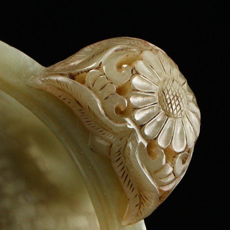 Superb Chinese Hetian Jade Double Rings Incense Burner - 8