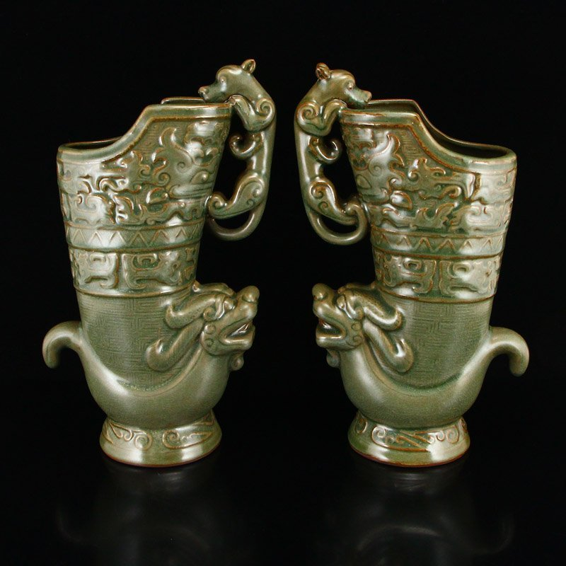 Pair Chinese Song Dy Long Quan Kiln Porcelain Wine Pots