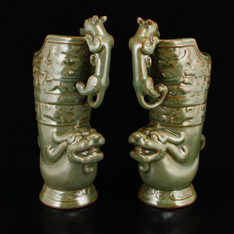 Pair Chinese Song Dy Long Quan Kiln Porcelain Wine Pots - 2