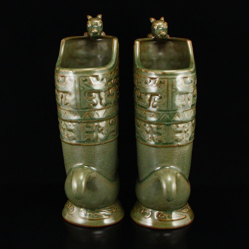 Pair Chinese Song Dy Long Quan Kiln Porcelain Wine Pots - 4