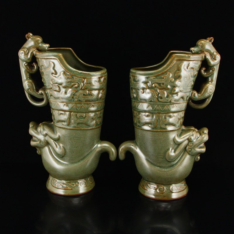 Pair Chinese Song Dy Long Quan Kiln Porcelain Wine Pots - 5