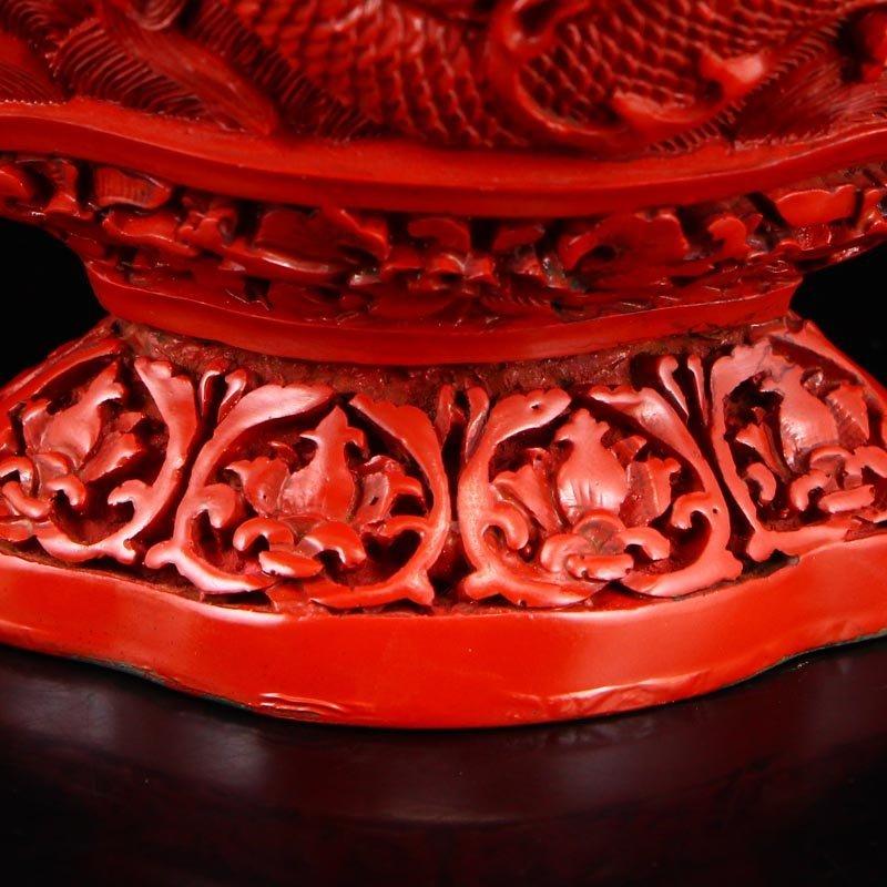 Vintage Red Lacquerware Relief Dragon & Phoenixes Vase - 10
