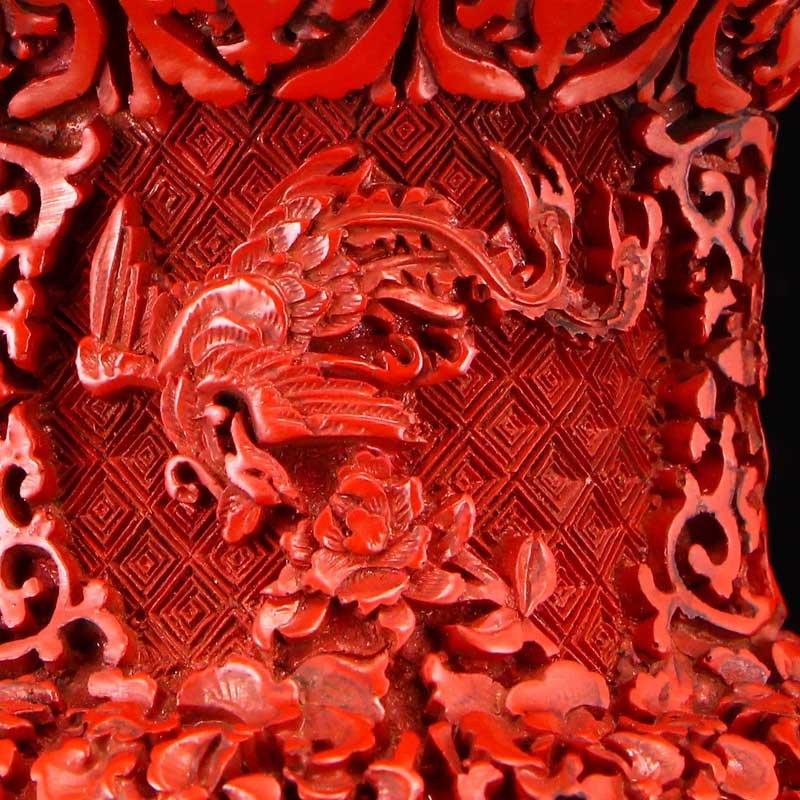 Vintage Red Lacquerware Relief Dragon & Phoenixes Vase - 8