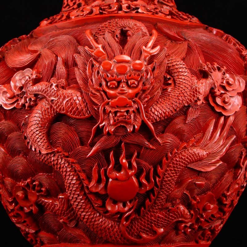 Vintage Red Lacquerware Relief Dragon & Phoenixes Vase - 9
