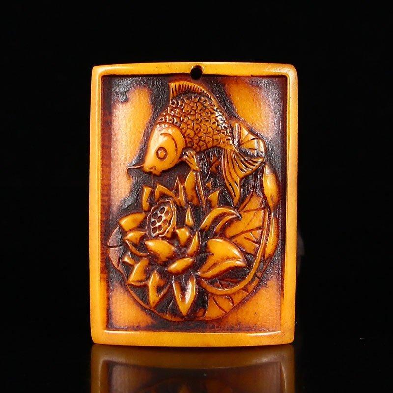 Vintage Chinese Bone Pendant - Fish & lotus