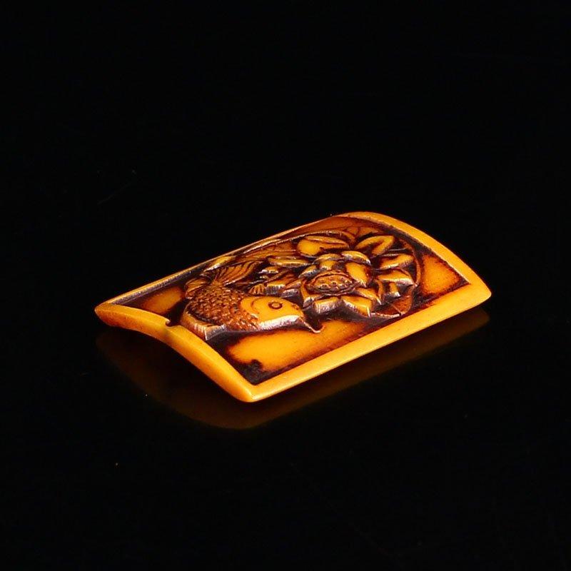 Vintage Chinese Bone Pendant - Fish & lotus - 4