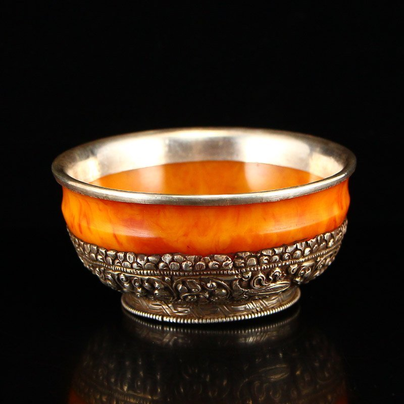 Vintage Tibetan Silver & Amber Bowl - 2