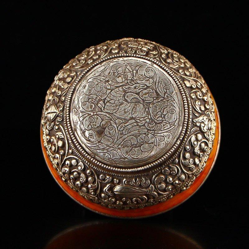 Vintage Tibetan Silver & Amber Bowl - 6