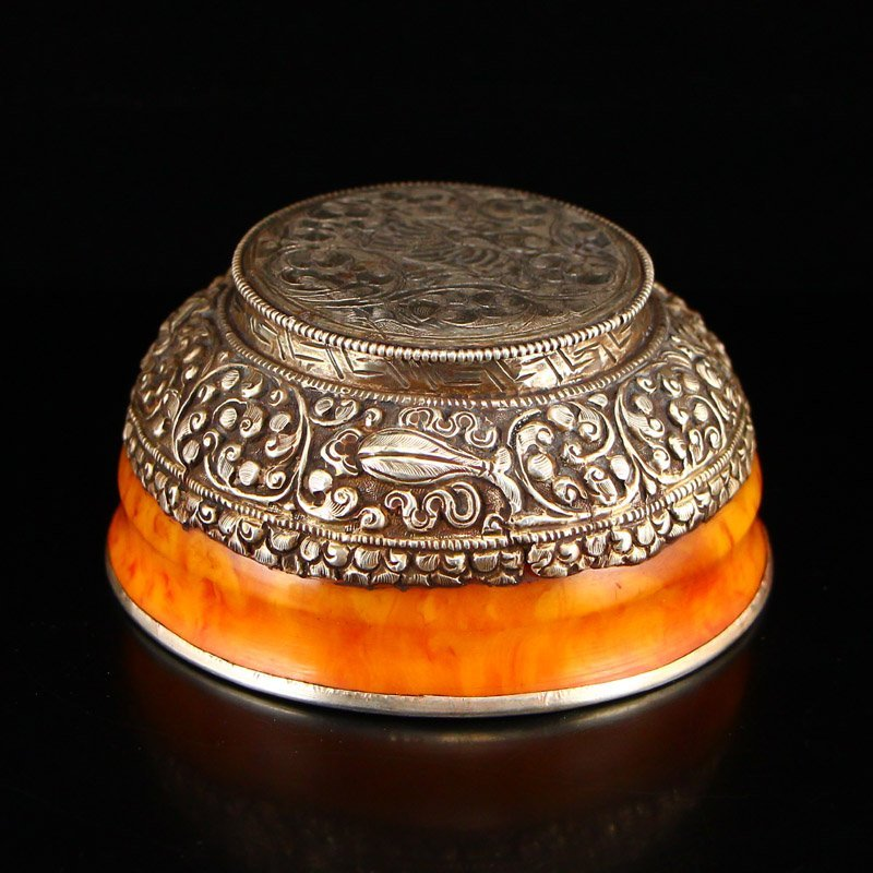Vintage Tibetan Silver & Amber Bowl - 7