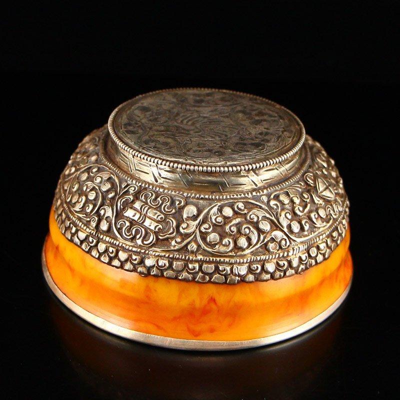 Vintage Tibetan Silver & Amber Bowl - 8