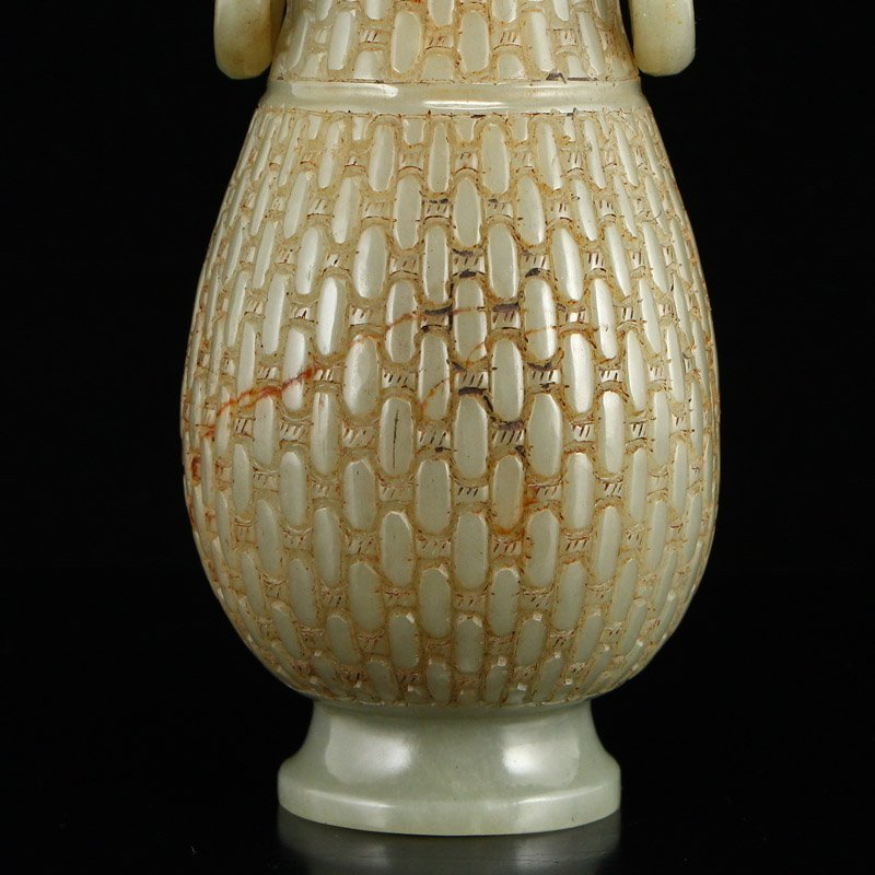 Chinese Qing Dynasty Hetian Jade Double Ears Bottle - 6