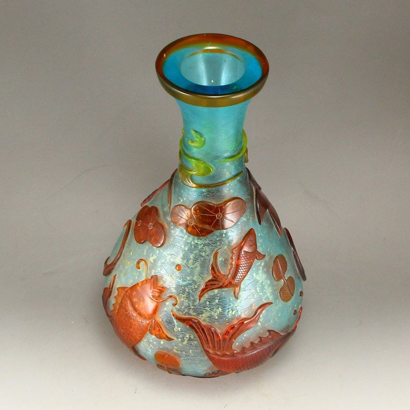 Chinese Qing Dy Peking Glass Low Relief Vase - 5
