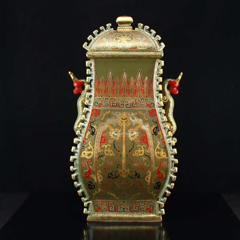 Chinese Qing Dy Gilt Gold Tea Dust Glaze Porcelain Vase