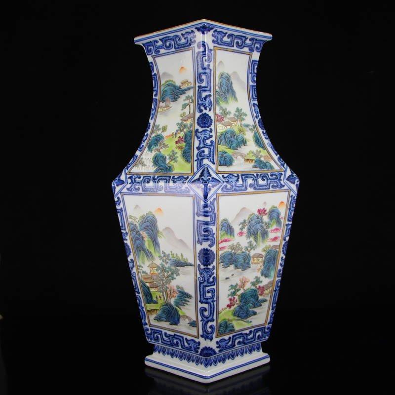 Gilt Gold Blue And White + Famille Rose Porcelain Vase