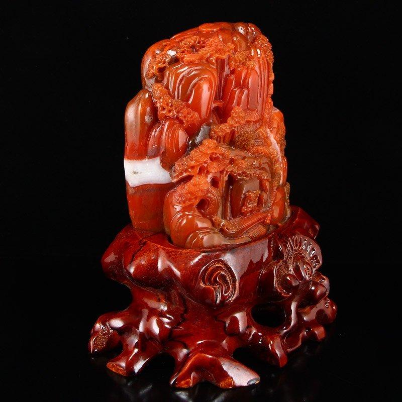 Superb Chinese Nan Hong Agate Statue -Teacher & Student - 3