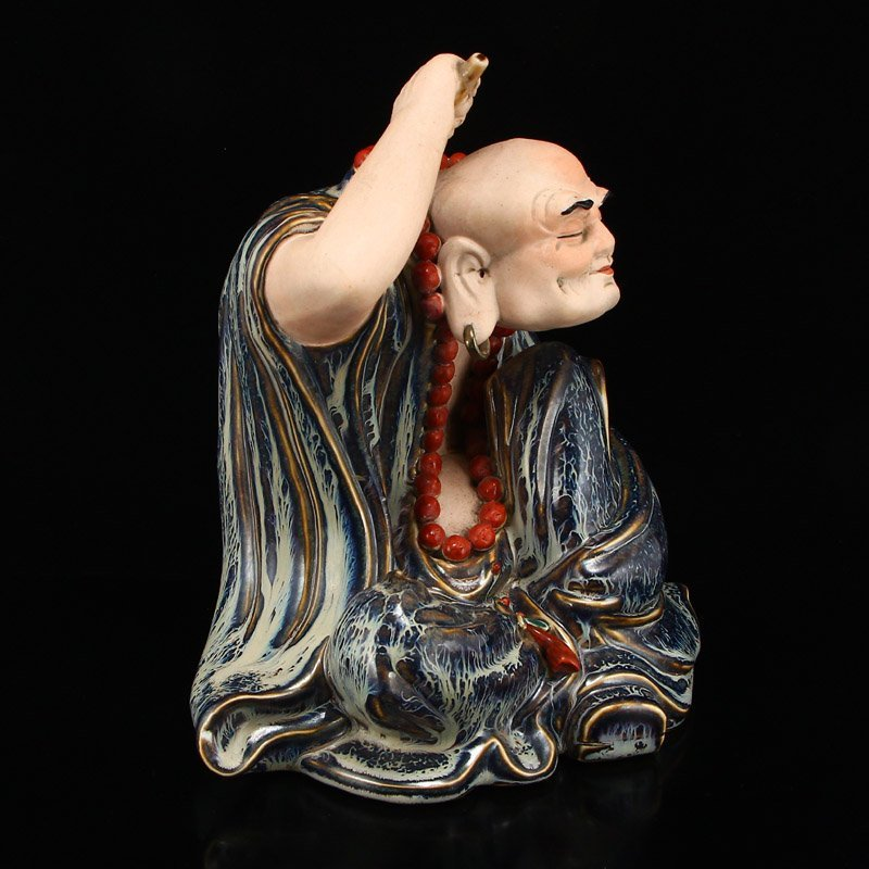 Chinese Variable Glaze Porcelain Arhat Statue - 4