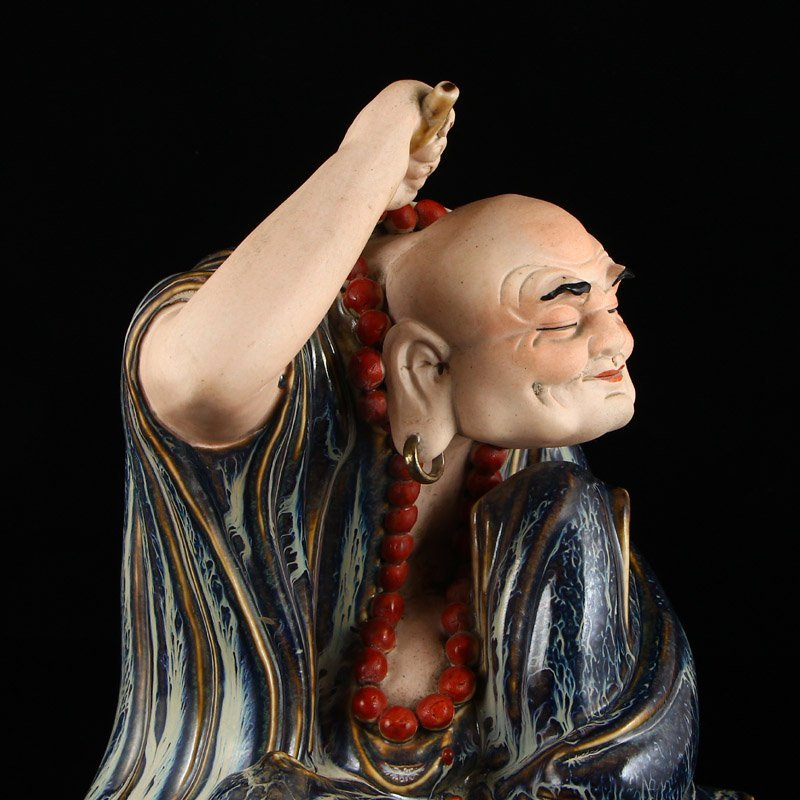 Chinese Variable Glaze Porcelain Arhat Statue - 7