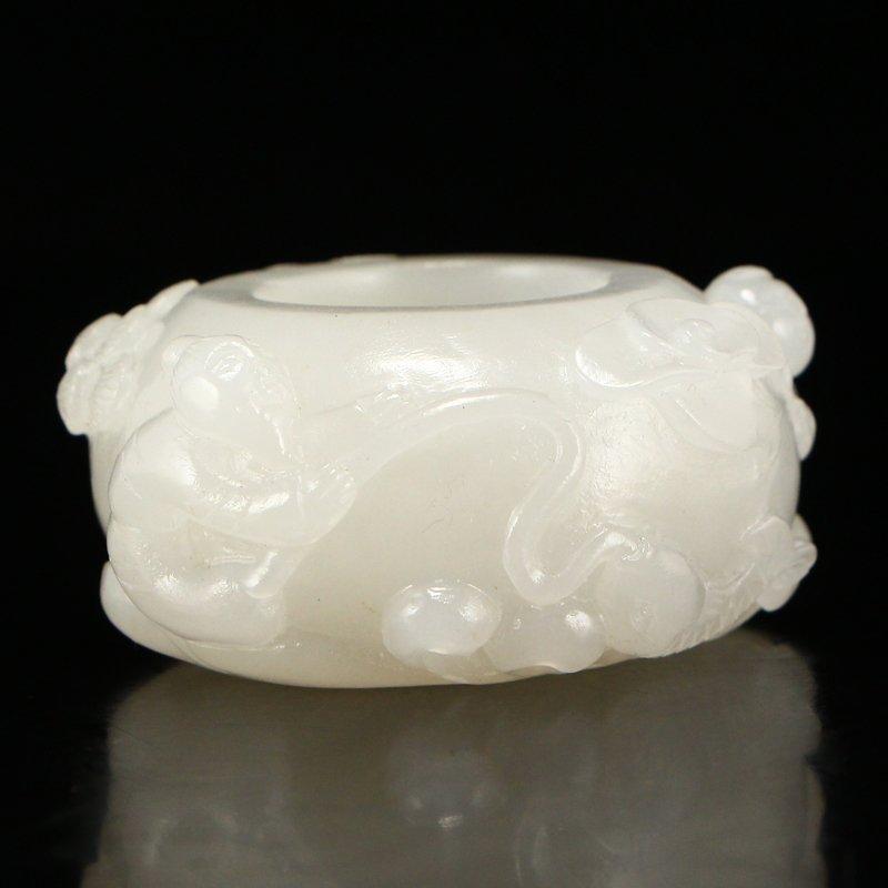Hetian Jade Low Relief Thumb Ring w Fortune Kids - 8