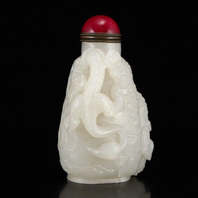 Superb Hetian Jade High Relief Dragon Snuff Bottle - 2