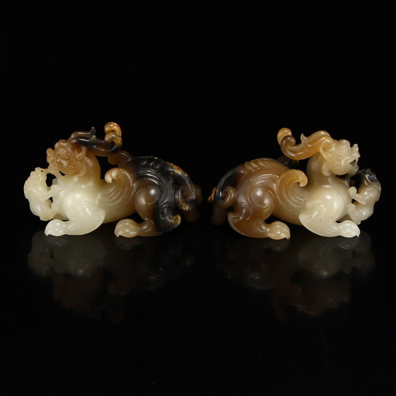 Superb Chinese Hetian Jade Lucky Beast Statues - 4