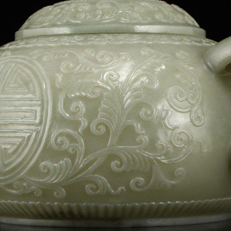 Set Superb Chinese Hetian Jade Low Relief Teapot & Cups - 10