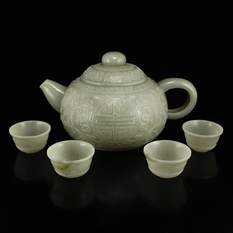 Set Superb Chinese Hetian Jade Low Relief Teapot & Cups